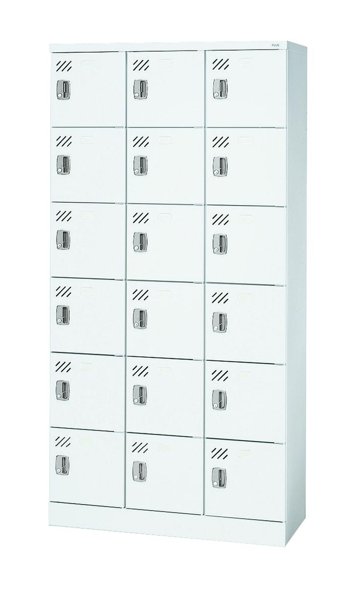 プラス 多人数用ロッカー 18人用 (3列6段) シリンダー錠 KL-H36K 【幅900mm×奥行380mm×高さ1790mm】【カラー: 2色】