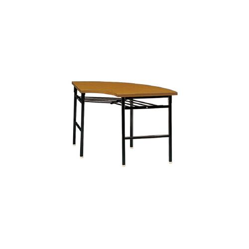 プラス 脚折りたたみテーブル YT-200 【R900mm×高さ700mm】【エッジ共張り】【棚付】【幕板なし】【天板カラー: ファインチーク、ローズウッド】