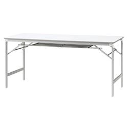 PLUS (プラス) 脚折りたたみテーブル YT-e515T 【幅1500mm×奥行450mm×高さ700mm】【棚付】【天板カラー: ホワイト、ホワイトメープル】
