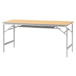プラス 脚折りたたみテーブル YT-e520T 【幅1500mm×奥行600mm×高さ700mm】【棚付】【天板カラー: ホワイト、ホワイトメープル】