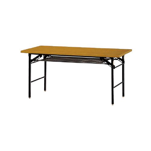 PLUS (プラス) 脚折りたたみテーブル YT-520B 【幅1500mm×奥行600mm×高さ700mm】【エッジ共張り】【棚付】【幕板なし】【天板カラー: ファインチーク、ローズウッド】