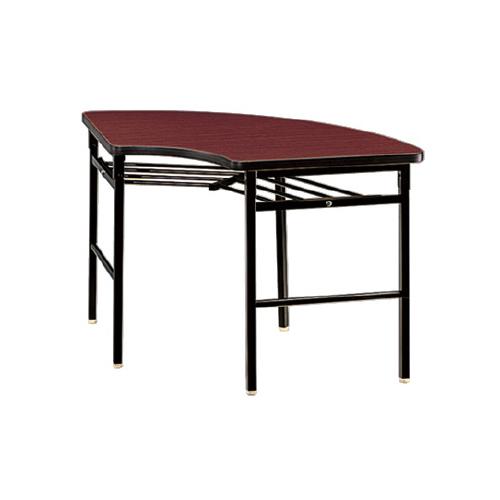 プラス 脚折りたたみテーブル YTS-200B 【R900mm×高さ700mm】【幕板なし】【ソフトエッジ】【棚付】【天板カラー: ファインチーク、ローズウッド】