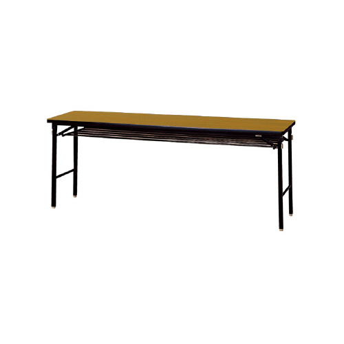 プラス 脚折りたたみテーブル YTS-615B 【幅1800mm×奥行450mm×高さ700mm】【幕板なし】【ソフトエッジ】【棚付】【カラー: ファインチーク、ローズウッド】