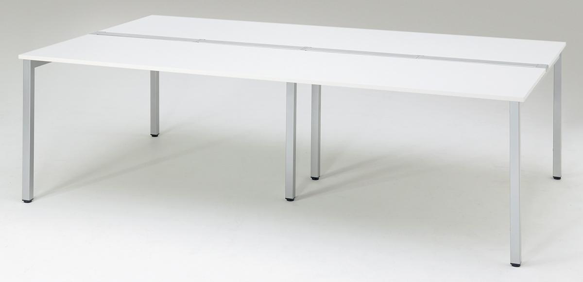 プラス フリーアドレスデスク Mulpose(マルポス) メインテーブル(標準タイプ) ML-2014 【幅2000×奥行1400×高さ720mm】【本体:シルバー】【天板:ホワイト】