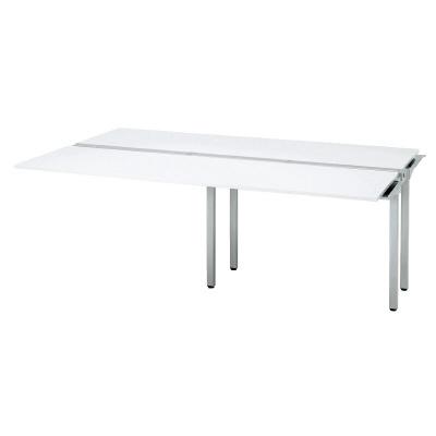プラス フリーアドレスデスク Mulpose(マルポス) メインテーブル(追加タイプ) ML-2014T 【幅2000×奥行1400×高さ720mm】【本体:シルバー】【天板:ホワイト】