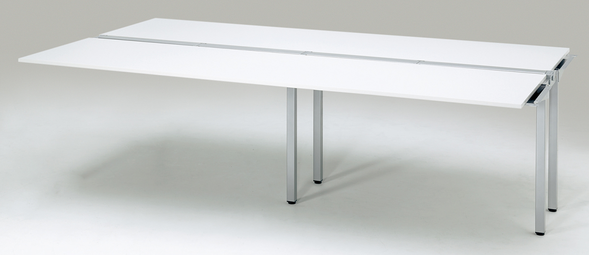 プラス フリーアドレスデスク Mulpose(マルポス) メインテーブル(追加タイプ) ML-2414T 【幅2400×奥行1400×高さ720mm】【本体:シルバー】【天板:ホワイト】