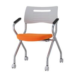 井上金庫 スタックチェア MSH-420A_OR 【肘付】【座面布カラー: オレンジ】