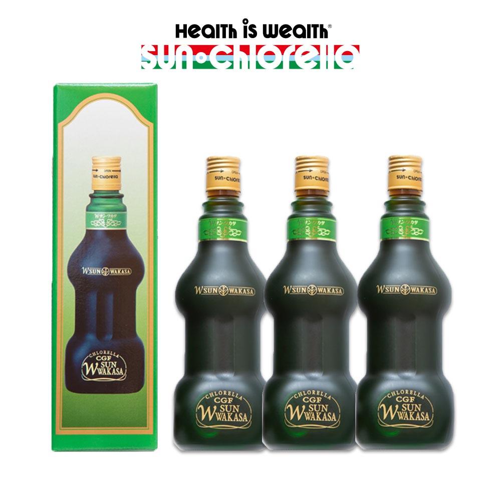 Wサンワカサ 500ml×3本 サンクロレラ クロレラ 核酸 健康 アミノ酸 クロレラエキス クロレラcgf 飲料 わかさ wakasa 送料無料