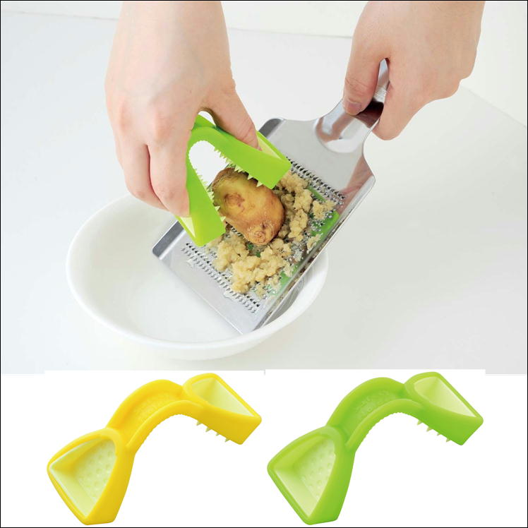 食材カットを安心サポート!手を汚さずにスピード調理!おろし調理が楽々、しっかりつかめて安心指ガード! とんぐ/スライサー/ピーラー/包丁/おろし器/食材カットグリーン・イエロー 送料無料!
