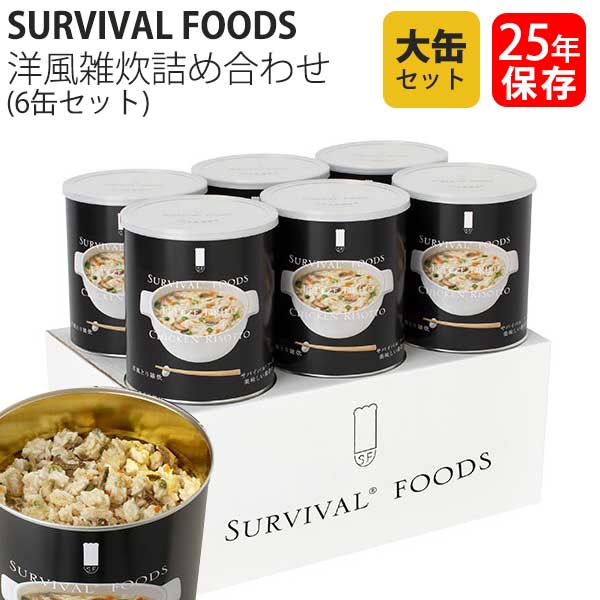 保存食 25年保存 サバイバルフーズ 洋風とり雑炊 大缶 6缶セット 送料無料