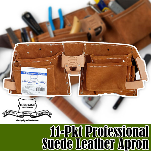 ヘリテージレザー Heritage Leather 11-Pkt Professional Suede Leather Apron 腰袋 HL490 送料無料