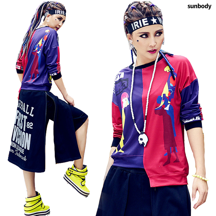 Dance clothes hip,hop dance tops dance trainer dance clothes stage clothes  HIPHOP girl Sudan\u0027sware lock,like HIPHOP dance T,shirt dress lips print by