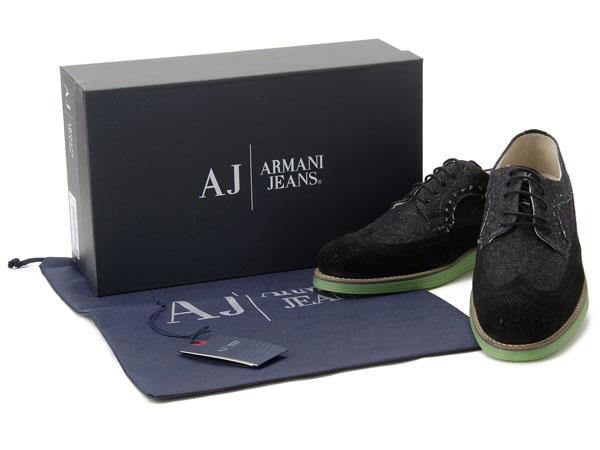 アルマーニ ジーンズ ARMANI JEANS カジュアルシューズ #40 メンズ靴 スニーカー ブラック 新品