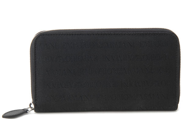 訳あり 化粧箱なし,糸ほつれありエンポリオ アルマーニ 財布 YEME49-YCF04-88001 長財布 ブラック メンズ財布 新品