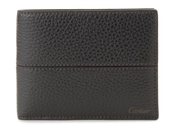 カルティエ Cartier L3001159 サドルステッチ 二つ折り財布 エボニー メンズ 新品
