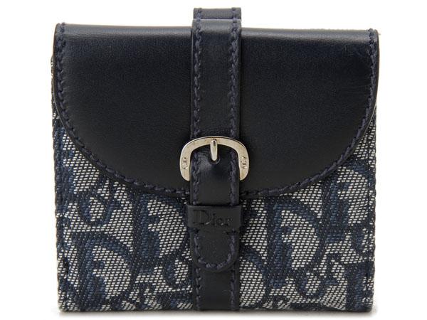 訳あり 箱/保護袋なし ディオール 二つ折り財布 返品不可商品
