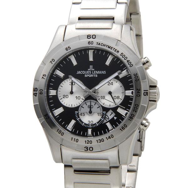 ジャックルマン JACQUES LEMANS 腕時計 メンズ 1-1670F1 モントリオール 43mm クロノグラフ ブラック 新品 【送料無料】