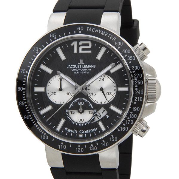 ジャックルマン JACQUES LEMANS 日本限定モデル メンズ 腕時計 11-1768A-1 ケビンコスナー・コレクション ミラノ クロノグラフ ラバー 新品 [ポイント5倍キャンペーン][8/3~8/17]