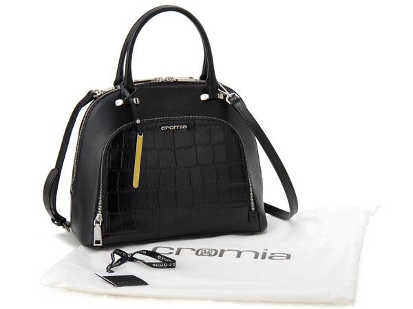 Chromia Tote Cromia 1402626sp Ne Made In Italy Bag Crocodile Embossed Black Las