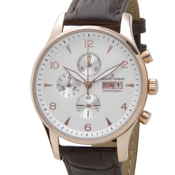 ジャックルマン JACQUES LEMANS 1-1908C クロノグラフ デイデイト メンズ 腕時計 ホワイト 新品 [ポイント5倍キャンペーン][8/3~8/17]