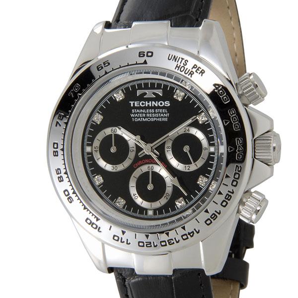 テクノス TECHNOS T4392LB クロノグラフ 24時間計 10気圧防水 ブラック×シルバー メンズ 腕時計 新品