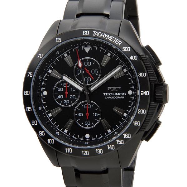 テクノス TECHNOS T4417BH クロノグラフ 10気圧防水 ブラック メンズ 腕時計
