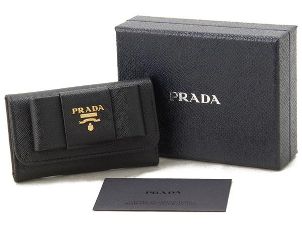 プラダ PRADA キーケース 1PG222 ZTM F0002 サフィアーノ レザー リボン ブラック 新品
