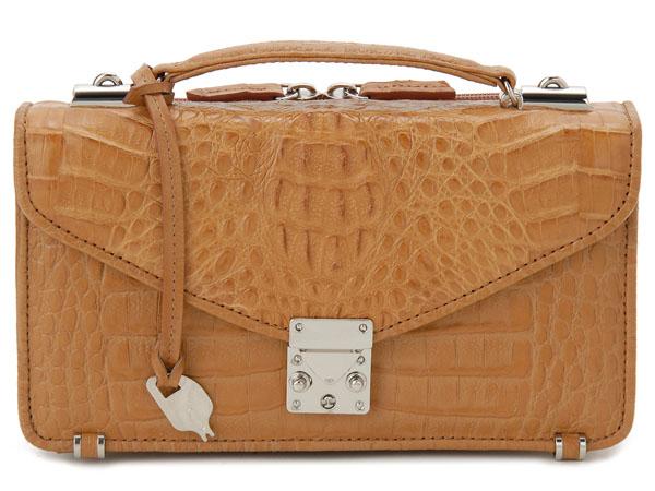 カイマンワニ革 セカンドバッグ メンズバッグ OKU0315HCMMT 本革 財布一体型バッグ キャメル 新品 【送料無料】