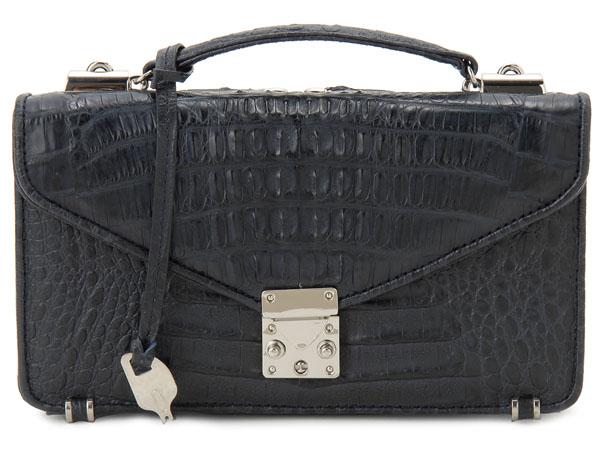 カイマンワニ革 セカンドバッグ メンズバッグ OKU0315TNVMT 本革 財布一体型バッグ ネイビー 新品 セールアイテム