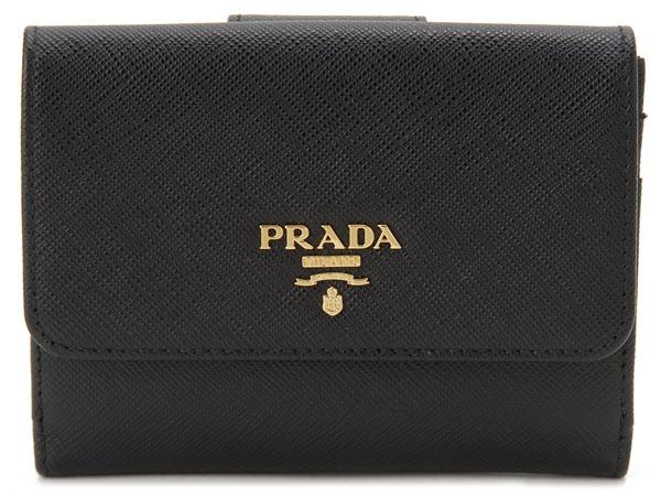 プラダ PRADA 二つ折り財布 1MH523 QWA F0002 サフィアーノ ブラック