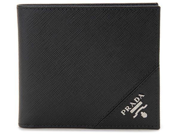 プラダ PRADA 二つ折り財布 2MO738 QME F0002 サフィアーノ ブラック メンズ 新品