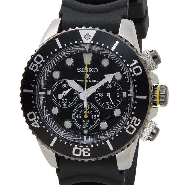 S Select Seiko Solar Chronograph Divers Watch Seiko Ssc021p1 Black