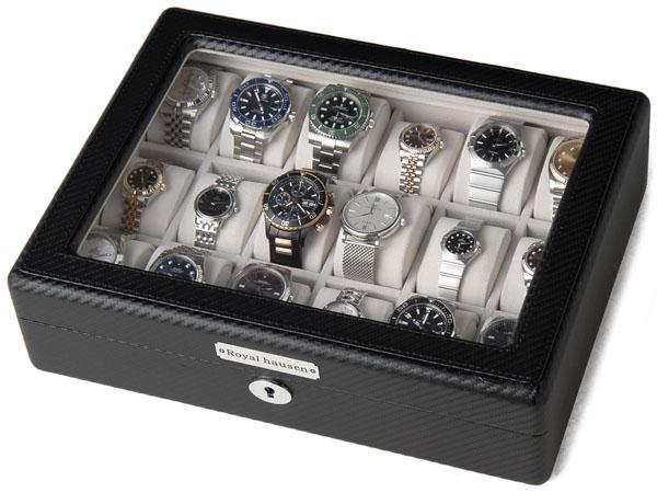 ロイヤルハウゼン Royal hausen 時計収納ケース 腕時計 18本収納 ケース GC02-TP-18 ウォッチケース ブラック 時計雑貨P10SP
