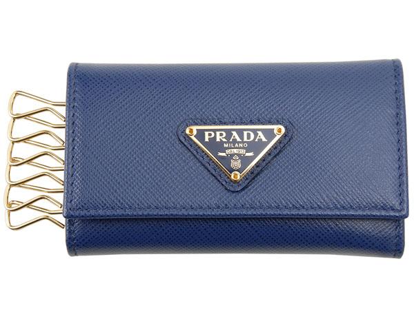PRADA プラダ キーケース 1PG222 QHH F0016 サフィアーノ BLUETTE ブリエッタ ブルー メンズ/レディース P10SP