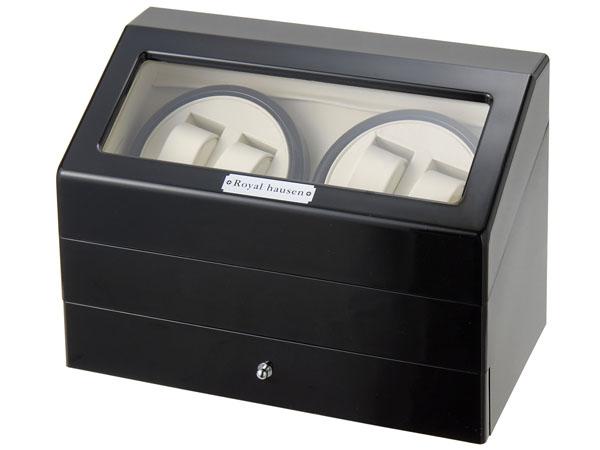 Royal hausen ロイヤルハウゼン ワインダー 時計収納ケース付きワインダー4本巻5本収納 SR074 BK ワインディングマシーン 腕時計/自動巻き機 2年保証 新品