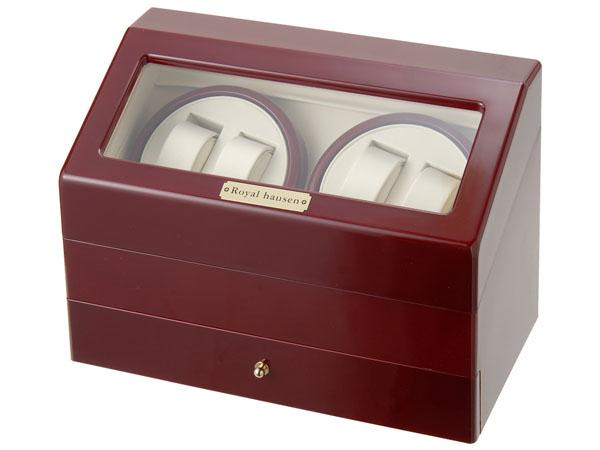 Royal hausen ロイヤルハウゼン ワインダー 時計収納ケース付きワインダー4本巻5本収納 SR074 RD ワインディングマシーン 腕時計/自動巻き機 2年保証
