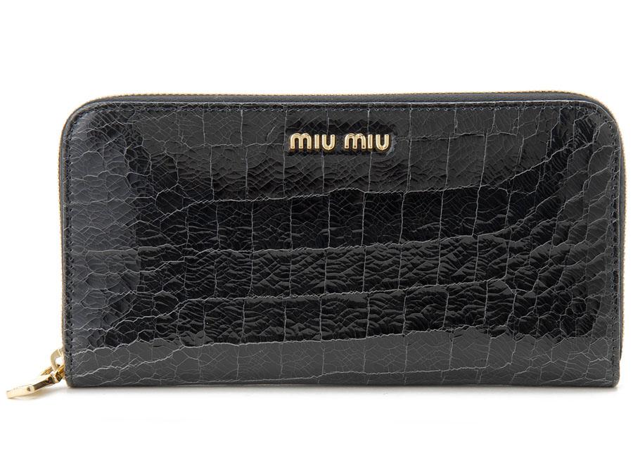 ミュウミュウラウンドファスナー長財布 5ML506-NKG-F0002 ブラック