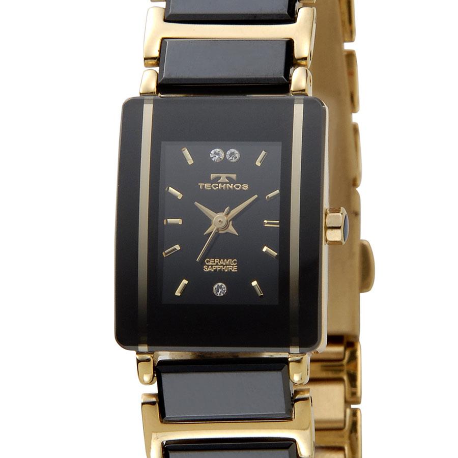 テクノス セラミック レディース 腕時計 TECHNOS TSL906GB ブラック×ゴールド 新品