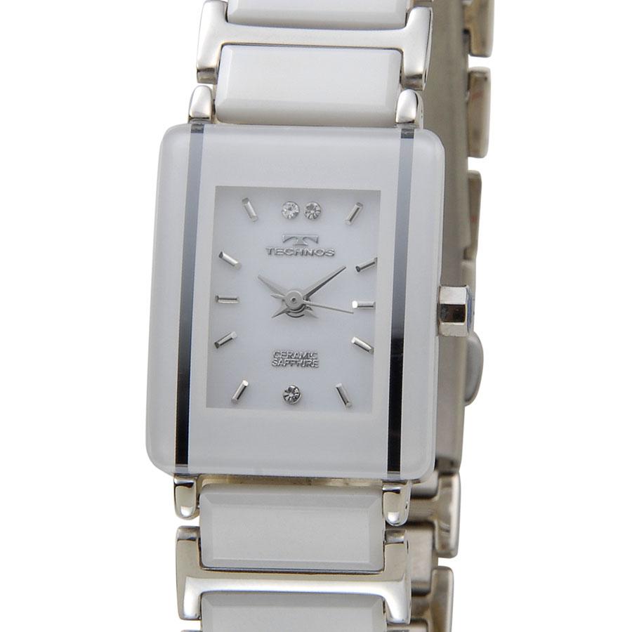 テクノス セラミック レディース 腕時計 TECHNOS TSL906TW ホワイト×シルバー 新品
