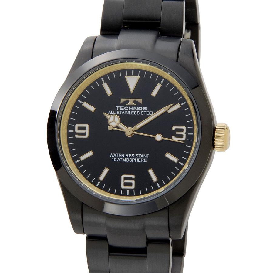 テクノス メンズ 腕時計 TECHNOS TSM208BG クオーツ ブラック×ゴールドP10SP
