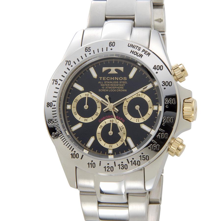 テクノス クロノグラフ メンズ 腕時計 TECHNOS TSM401LB クオーツ ゴールド 新品 [ポイント5倍キャンペーン][8/3~8/17]