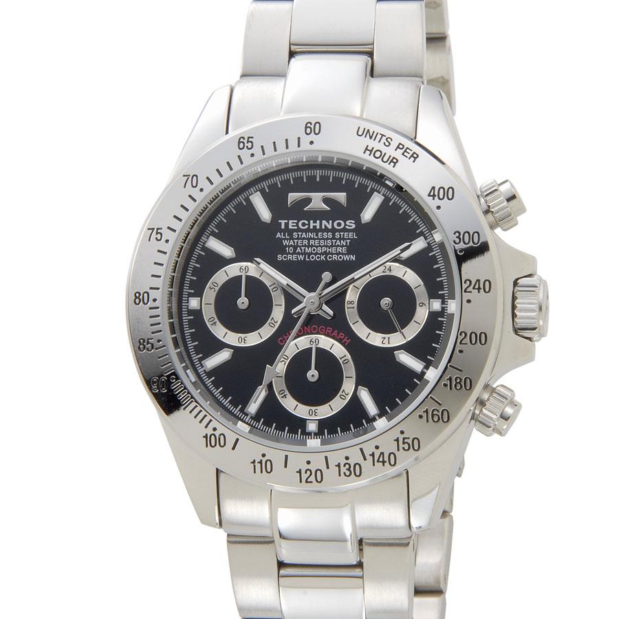 テクノス クロノグラフ メンズ 腕時計 TECHNOS TSM401SB クオーツ ブラック P10SP