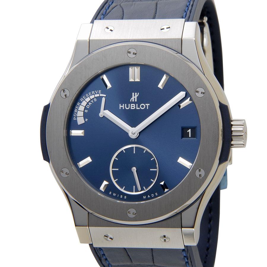 オータムバーゲン ウブロ HUBLOT クラシック フュージョン パワーリザーブ チタニウム 516.NX.7170.LR ブルー メンズ 腕時計