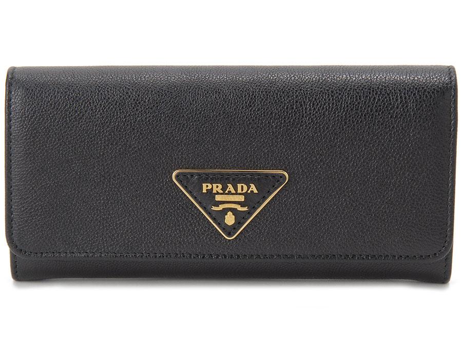 プラダ PRADA 長財布 1MH132 3B1V F0002 パスケース付 財布 GLACE CALF グレース カーフレザー NERO ブラック レディース 新品