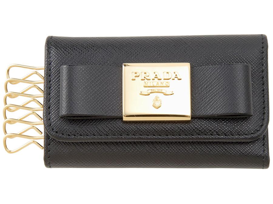 プラダ PRADA キーケース 1PG222 2AEE F0002 SAFFIANO サフィアーノ リボン NERO ブラック レディース 新品