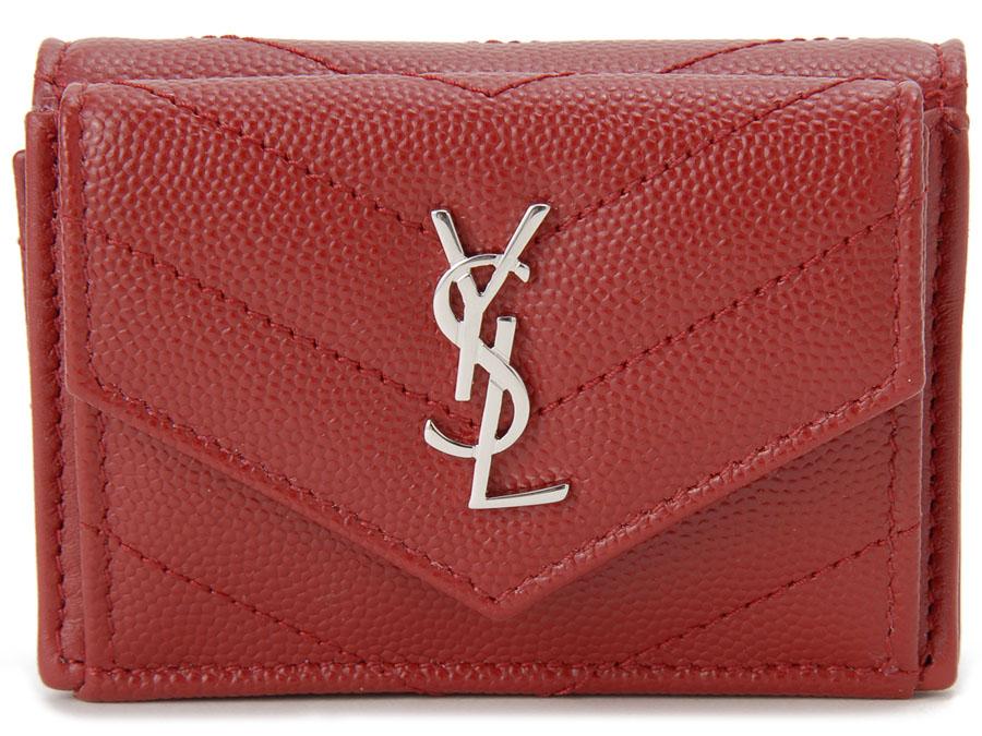 サンローラン パリ SAINT LAURENT 三つ折り財布 505118-BOWL2-6805 キルティング 財布 ルージュ レッド