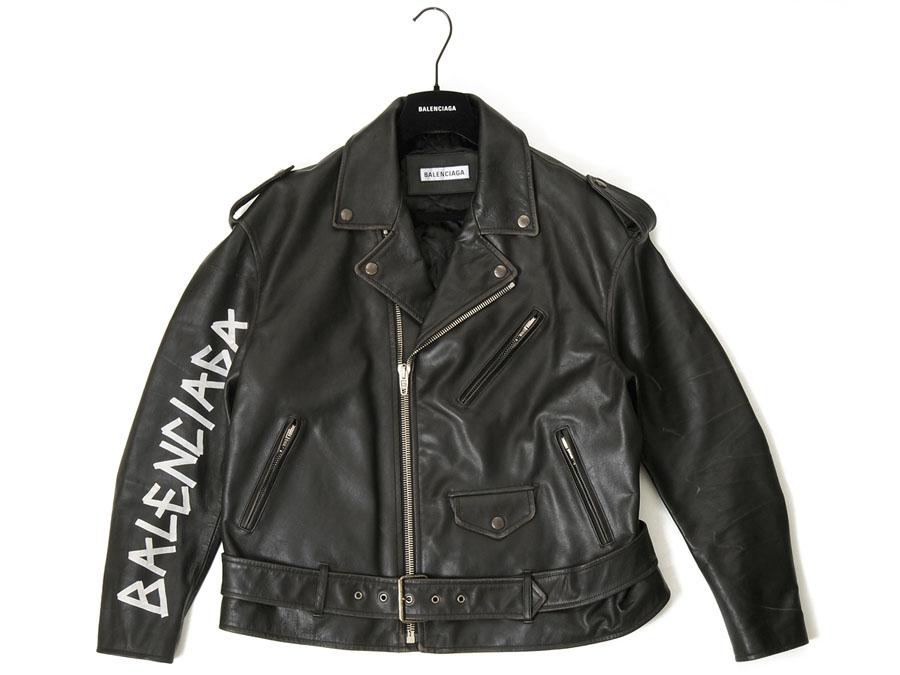 バレンシアガ BALENCIAGA ライダースジャケット 518082 TYH15 1000 36/38 ペイント バイカー ジャケット 革ジャン 本革 メンズ レディース