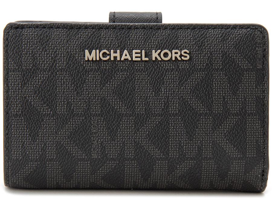 マイケルコース MICHAEL KORS 二つ折り財布 35H7STVF2B-001 MK モノグラム ブラック レディース 財布