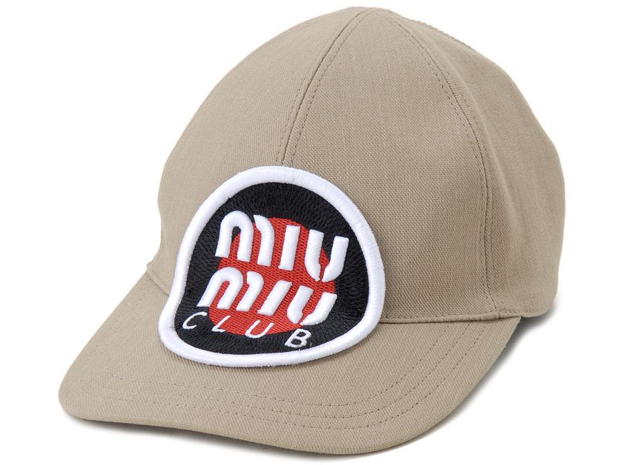 ミュウミュウ MIU MIU キャップ 5HC274 AJ6 F0241 Sサイズ MIUMIU CLUB カーキ 帽子 レディース