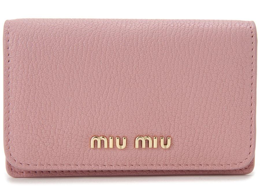 ミュウミュウ MIU MIU 名刺入れ 5MC011 2BJI F0387 カードケース レザー ピンク レディース P10SP